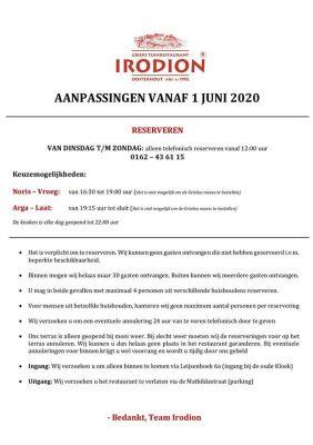 Irodion aanpassingen vanaf 1 juni 2020